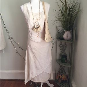 VINTAGE BOHO Two Piece Set 100% Cotton Embroidered